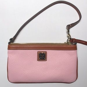 Dooney and Bourke Pink/Tan Leather Wristlet. NWT
